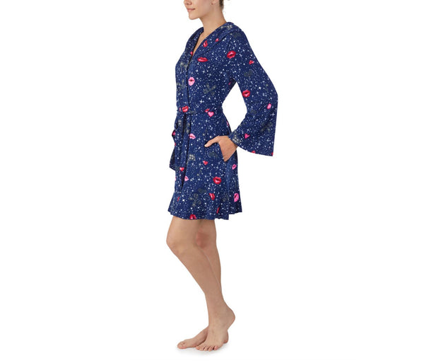 PEACE AND LOVE ROBE NAVY - APPAREL - Betsey Johnson