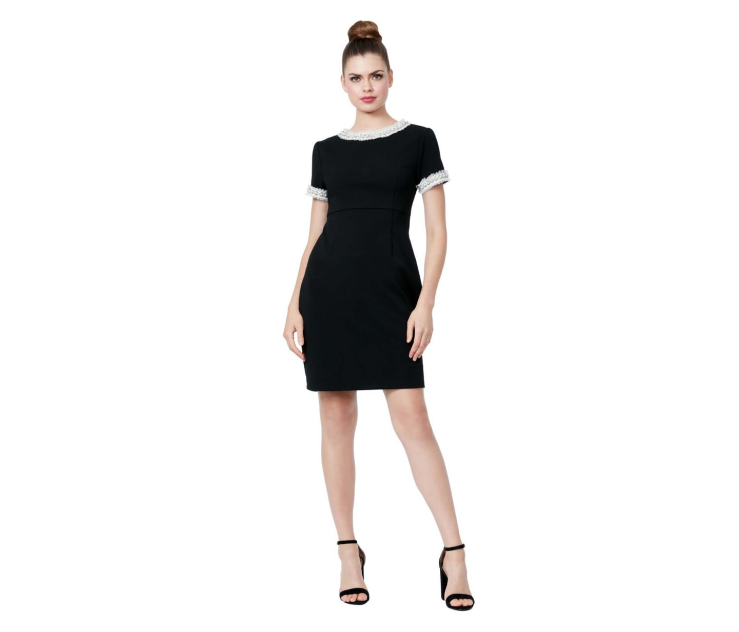 PEARL TRIMMED SCUBA CREPE DRESS BLACK - APPAREL - Betsey Johnson