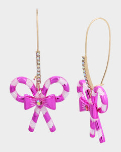 PINK XMAS BOW HOOK EARRINGS FUSCHIA FAB