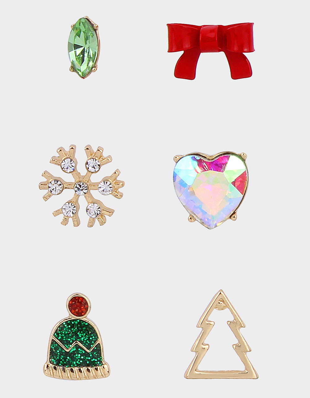 PINK XMAS BOW STUD SET MULTI
