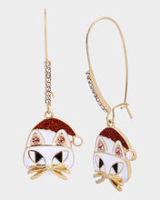 PINK XMAS CAT HOOK EARRINGS WHITE - JEWELRY - Betsey Johnson