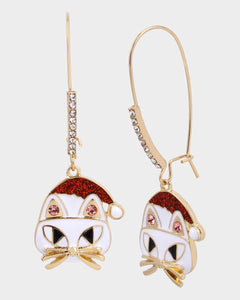 PINK XMAS CAT HOOK EARRINGS WHITE