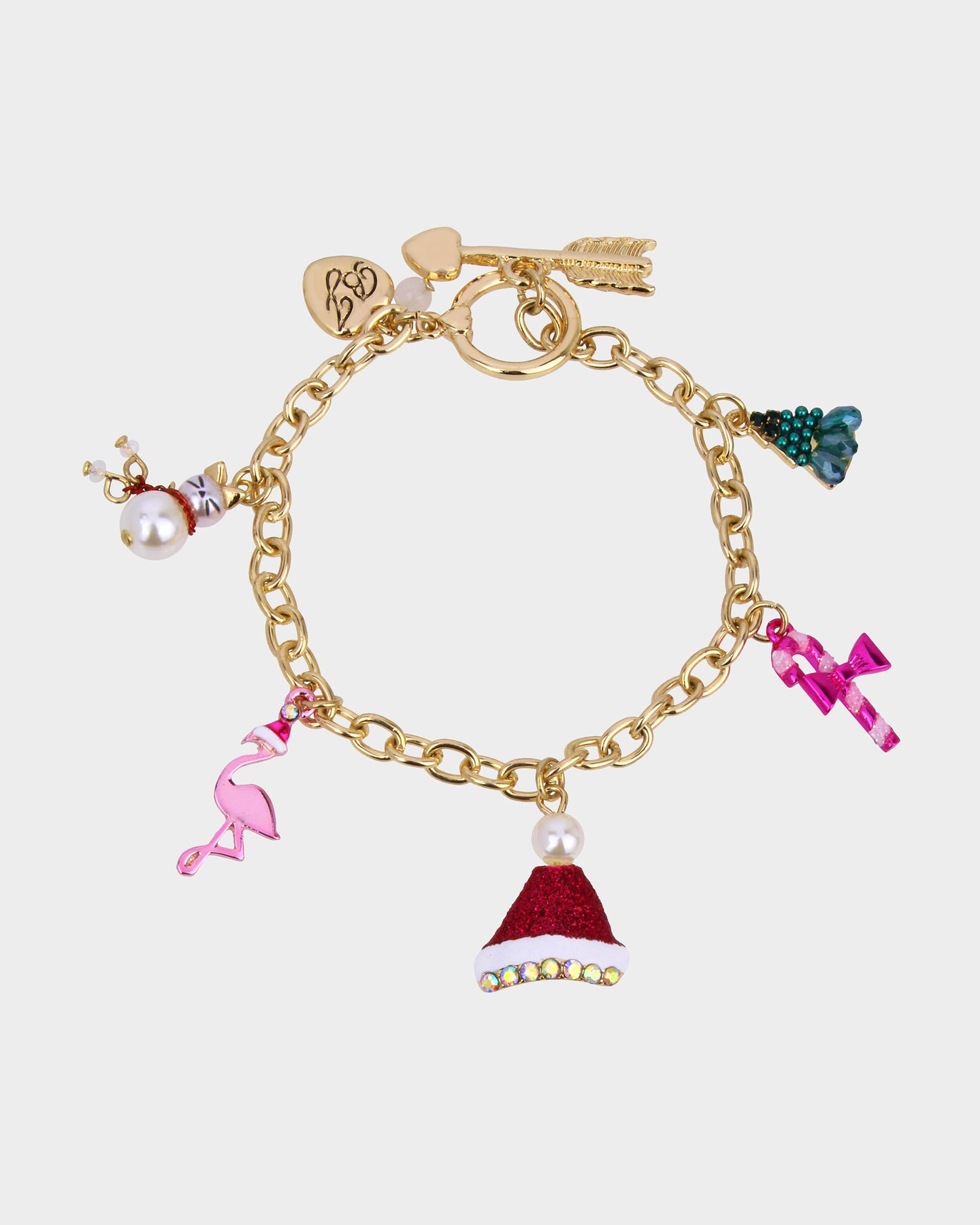 PINK XMAS CHARM BRACELET MULTI - JEWELRY - Betsey Johnson