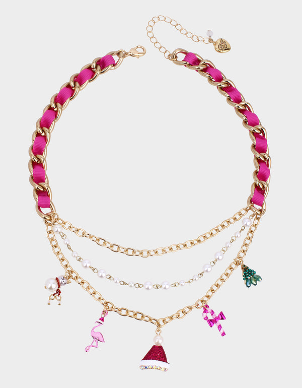 PINK XMAS CHARM NECKLACE MULTI - JEWELRY - Betsey Johnson