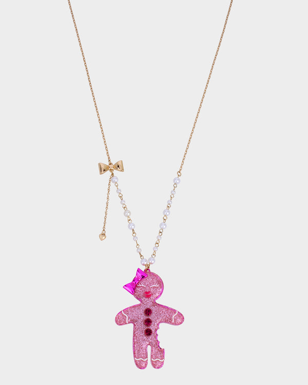 PINK XMAS GINGERBREAD PENDANT PINK - JEWELRY - Betsey Johnson