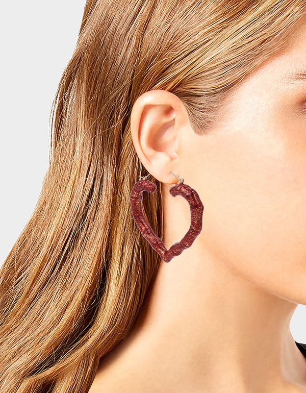 PINK XMAS GLITTER HOOPS RED - JEWELRY - Betsey Johnson