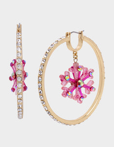 PINK XMAS PAVE BOW HOOPS PINK