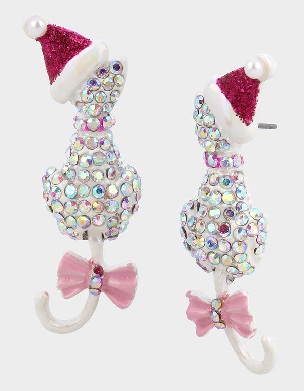 PINK XMAS PAVE CAT EARRINGS WHITE - JEWELRY - Betsey Johnson
