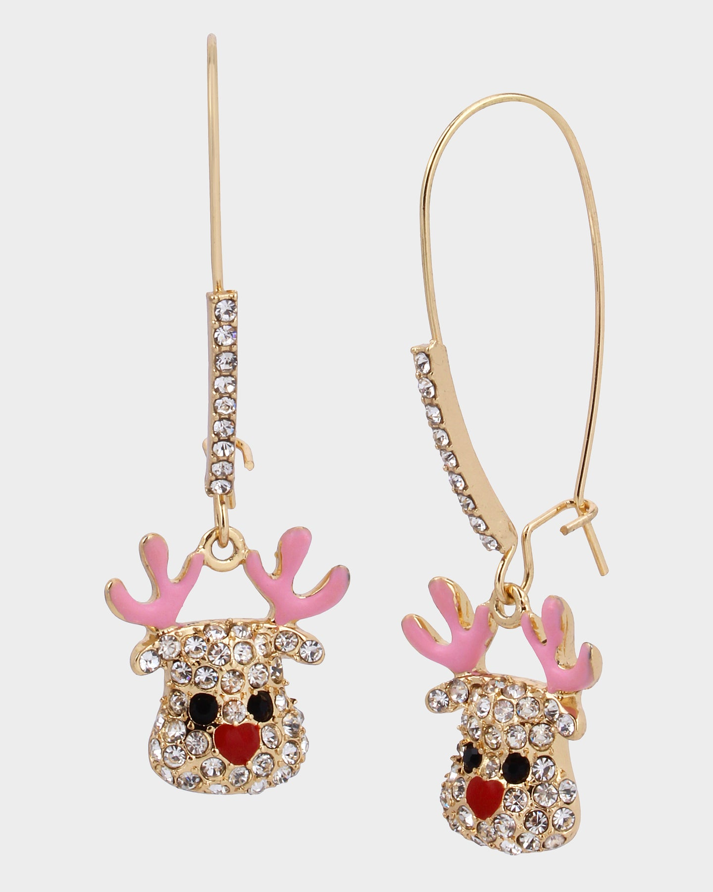 PINK XMAS REINDEER HOOK EARRINGS PINK - JEWELRY - Betsey Johnson