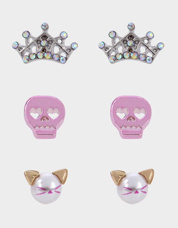 PINK XMAS SKULL STUD SET PINK - JEWELRY - Betsey Johnson