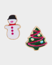 PINK XMAS SNOWMAN MISMATCH STUDS MULTI - JEWELRY - Betsey Johnson