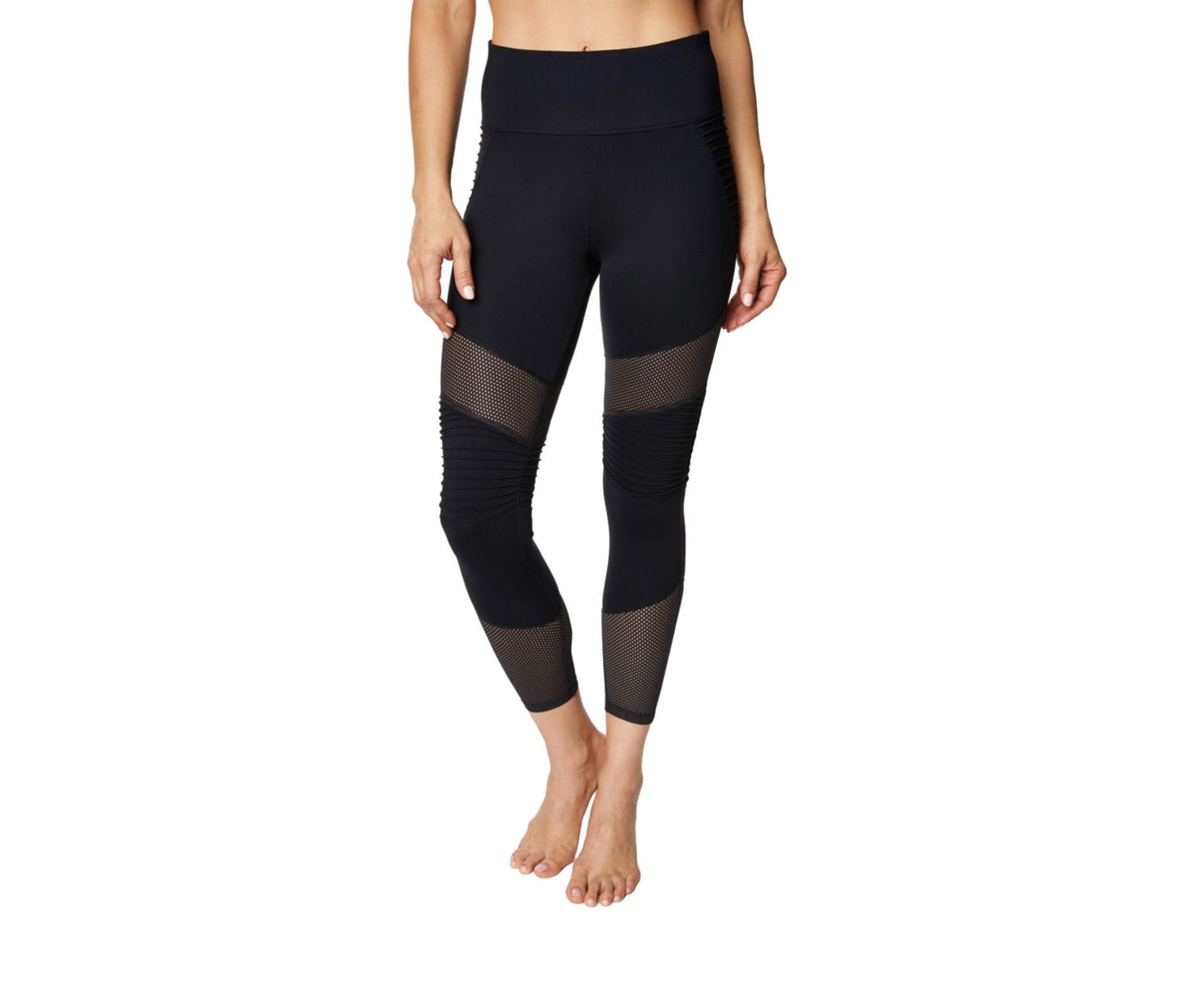 PINTUCK AND MESH PANEL LEGGING BLACK - APPAREL - Betsey Johnson