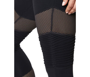 PINTUCK AND MESH PANEL LEGGING BLACK