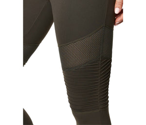 PINTUCK AND MESH PANEL LEGGING MOSS MULTI
