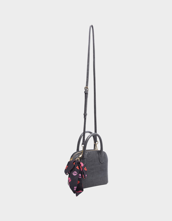 PRETTY PETITE DOME SATCHEL GREY - HANDBAGS - Betsey Johnson
