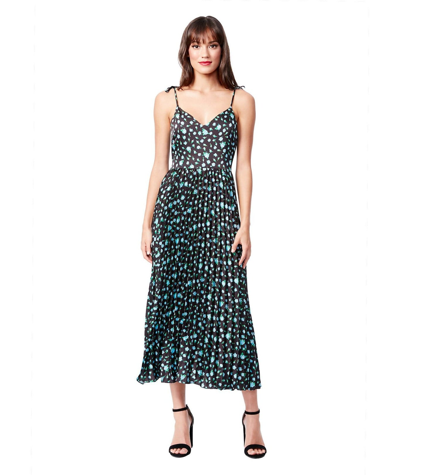 PRETTY PLEATS FLORAL DRESS BLACK MULTI - APPAREL - Betsey Johnson