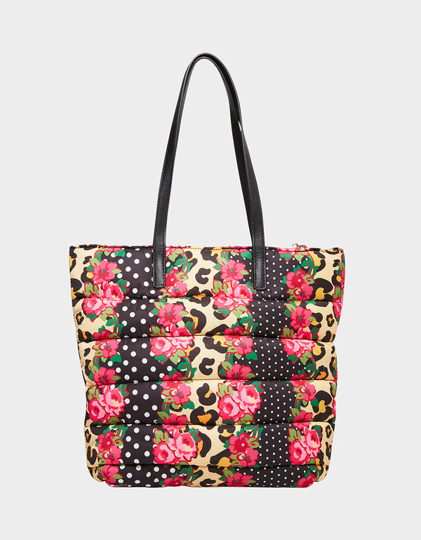 PRETTY PUFFER TOTE FLORAL MULTI - HANDBAGS - Betsey Johnson