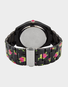 PRINTED ROSES WATCH BLACK MULTI