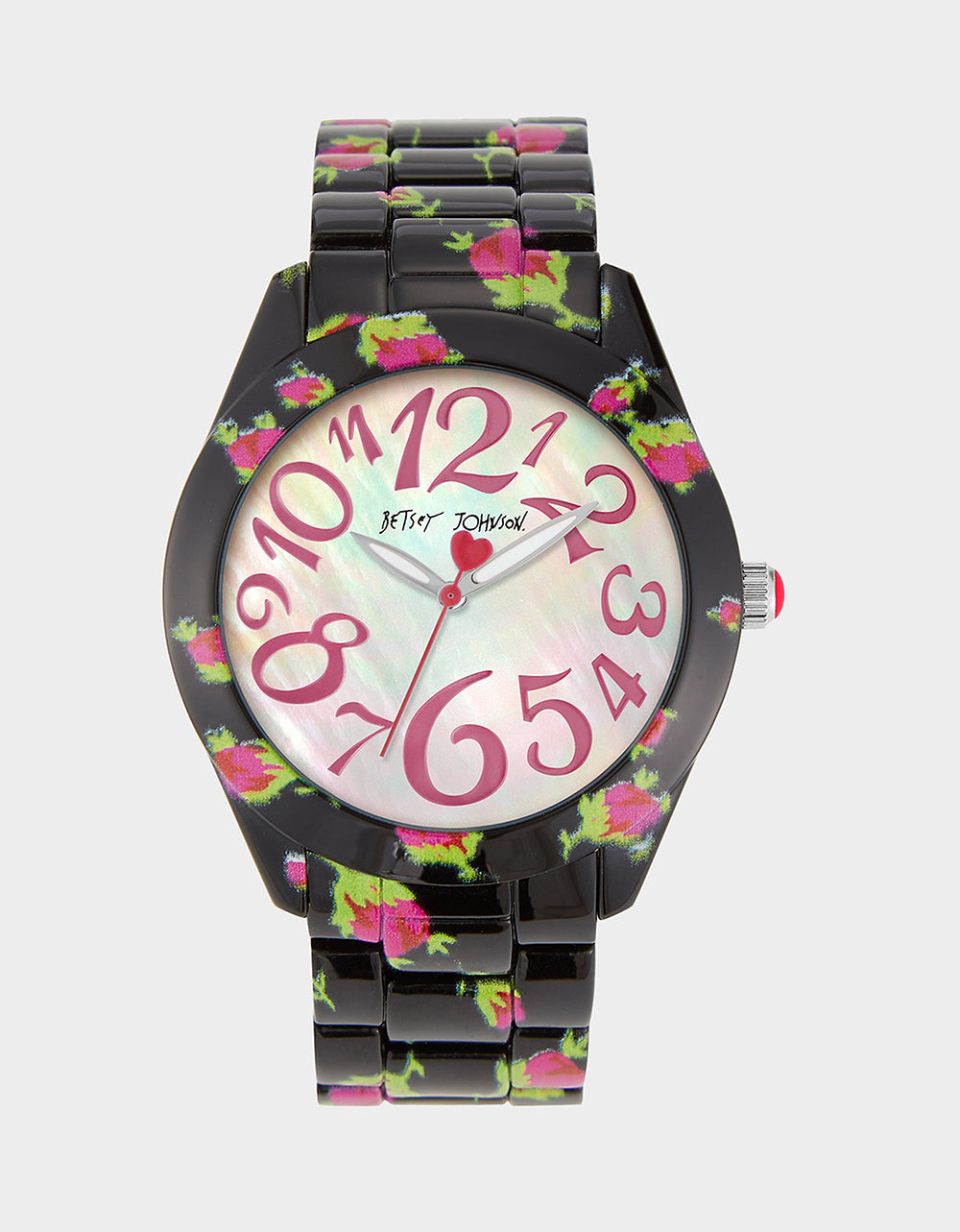 PRINTED ROSES WATCH BLACK MULTI - JEWELRY - Betsey Johnson