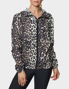PRINTED RUBBERIZED WINDBREAKER LEOPARD