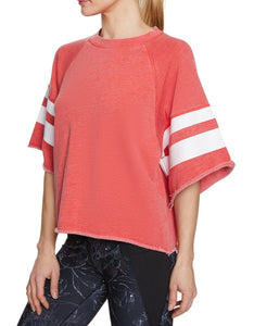 PRINTED STRIPE CUTOFF SWEATSHIRT CORAL