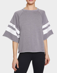 PRINTED STRIPE CUTOFF SWEATSHIRT GREY