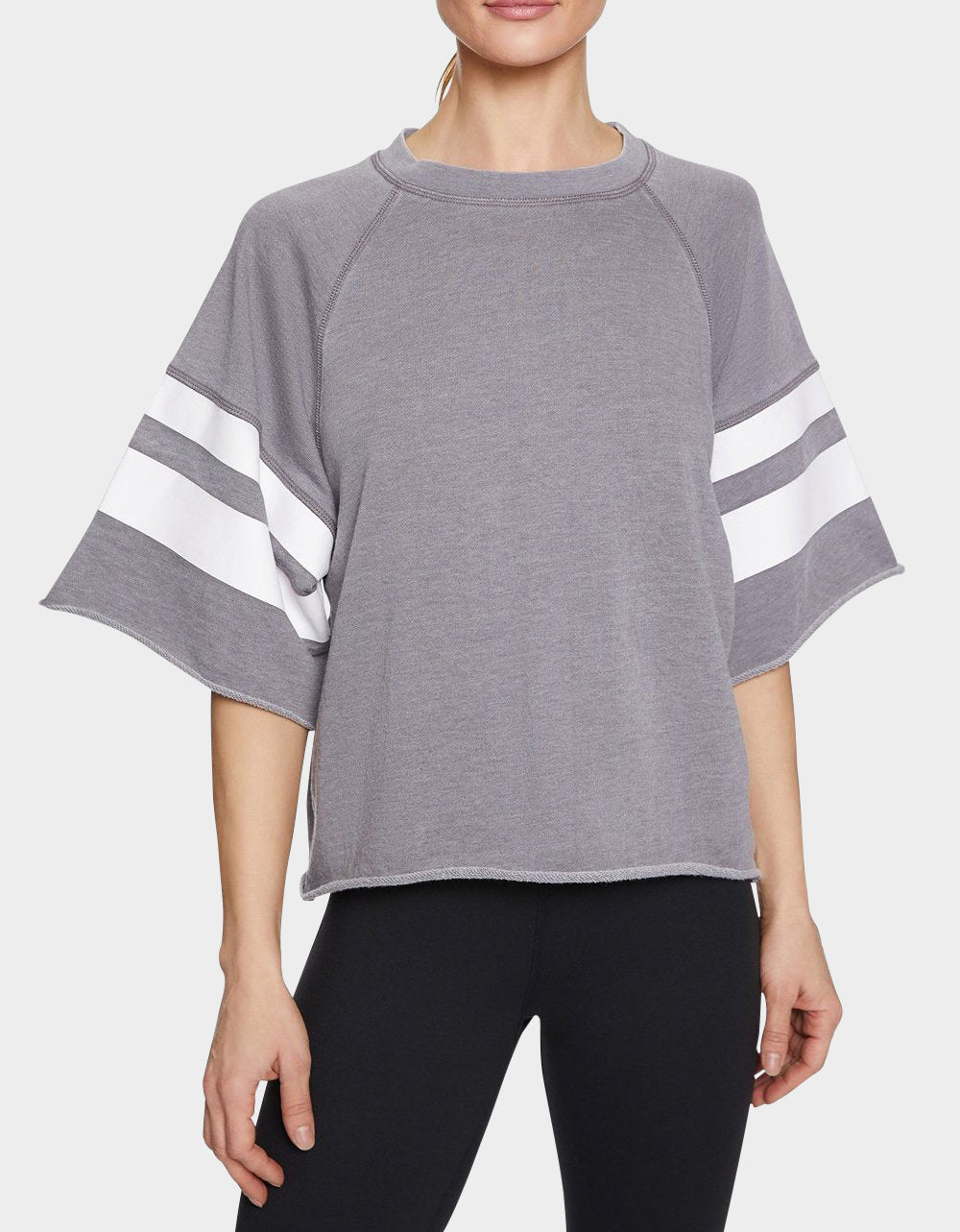 PRINTED STRIPE CUTOFF SWEATSHIRT GREY - APPAREL - Betsey Johnson