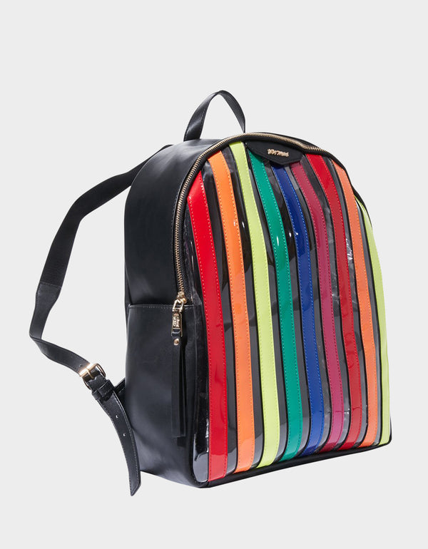 SPOTTED IN STRIPES LARGE BACKPACK MULTI - HANDBAGS - Betsey Johnson