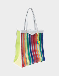 SPOTTED IN STRIPES LARGE TOTE MULTI
