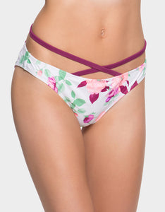 PRISONER OF LOVE CRISS CROSS HIPSTER BOTTOM WHITE MULTI