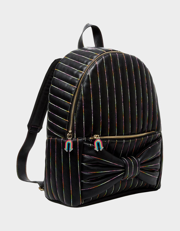 RAINBOW CHAIN BOW BACKPACK BLACK - HANDBAGS - Betsey Johnson