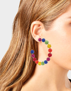 RAINBOW RETRO FIREBALL HOOP EARRINGS