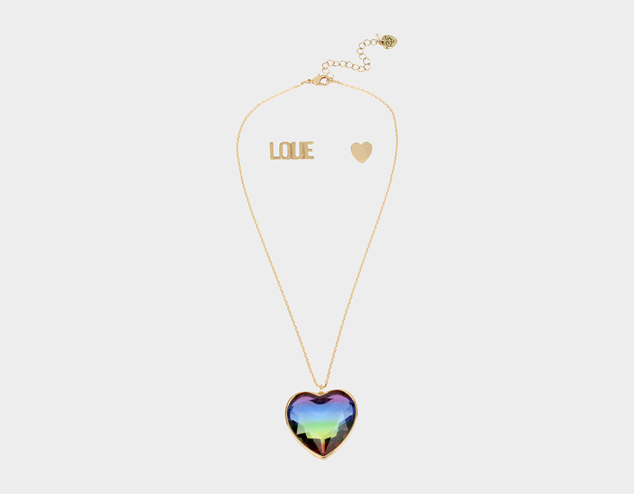 RAINBOW RETRO HEART SET RAINBOW MULTI - JEWELRY - Betsey Johnson