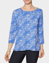 RAW EDGE FIT AND FLARE TEE BLUE - APPAREL - Betsey Johnson