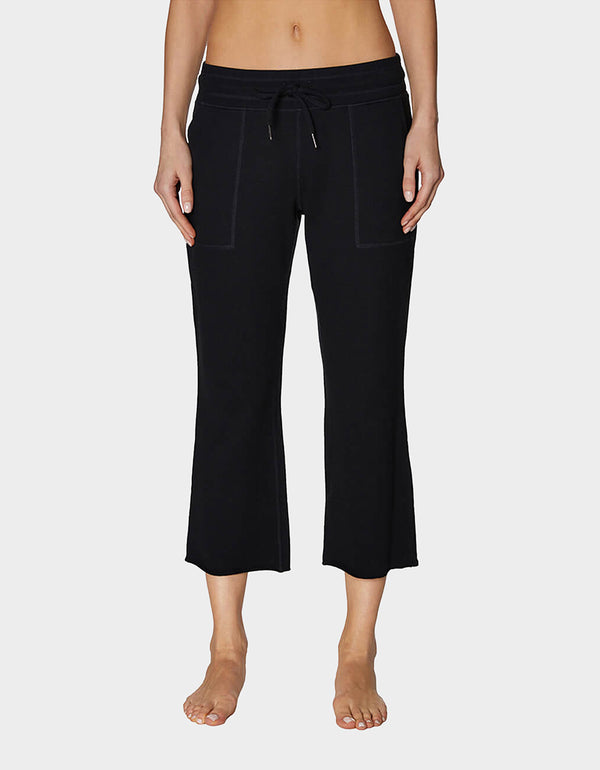 RAW EDGE FLARE CROP PANT BLACK - APPAREL - Betsey Johnson