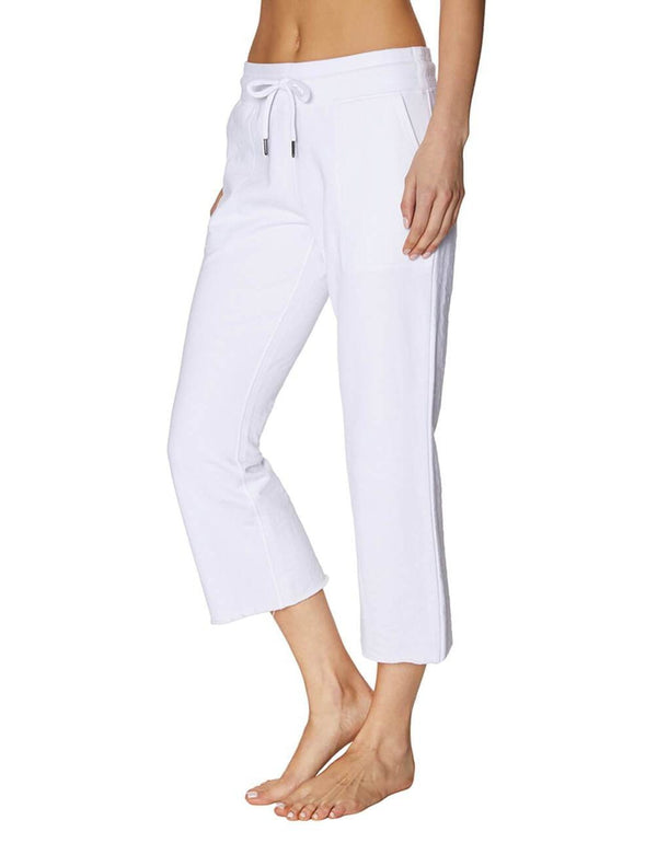 RAW EDGE FLARE CROP PANT WHITE - APPAREL - Betsey Johnson