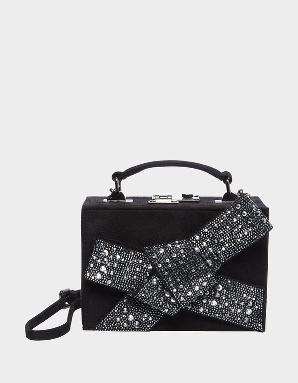 RAZZLE DAZZLE BOW BOX BAG BLACK SILVER - HANDBAGS - Betsey Johnson