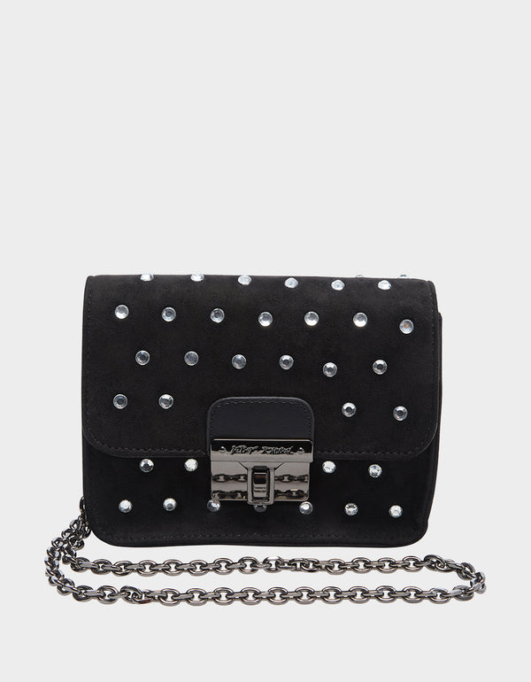 RAZZLE DAZZLE CROSSBODY BLACK SILVER - HANDBAGS - Betsey Johnson