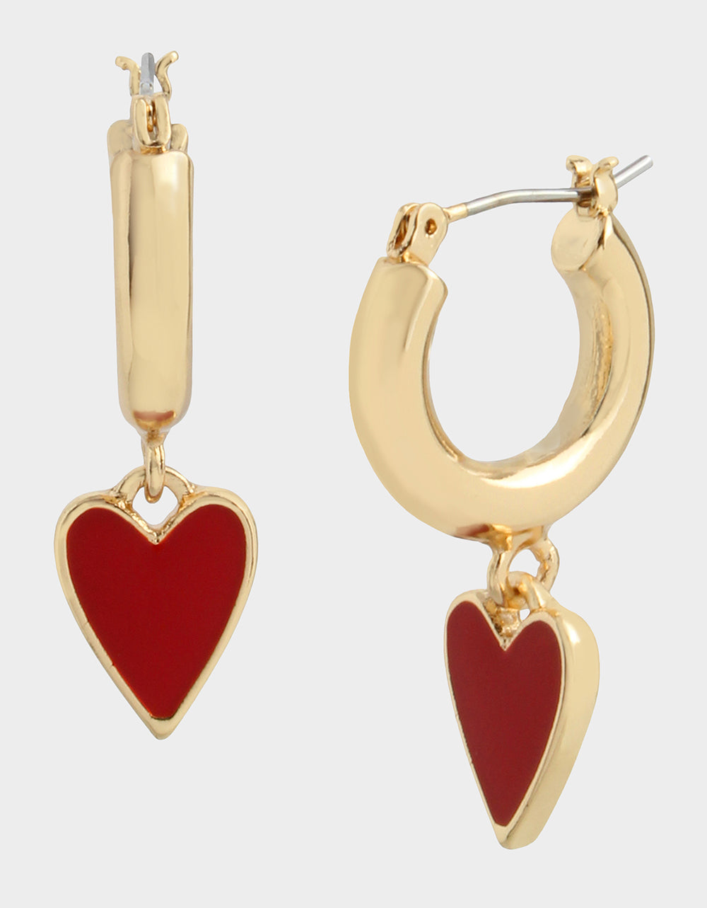 RED HOT HEART HUGGIE EARRINGS RED