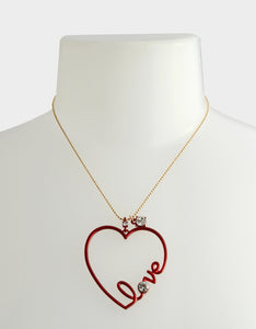 RED HOT HEART LOVE PENDANT RED