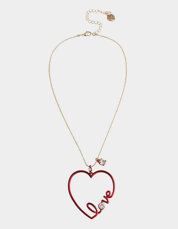 RED HOT HEART LOVE PENDANT RED - JEWELRY - Betsey Johnson