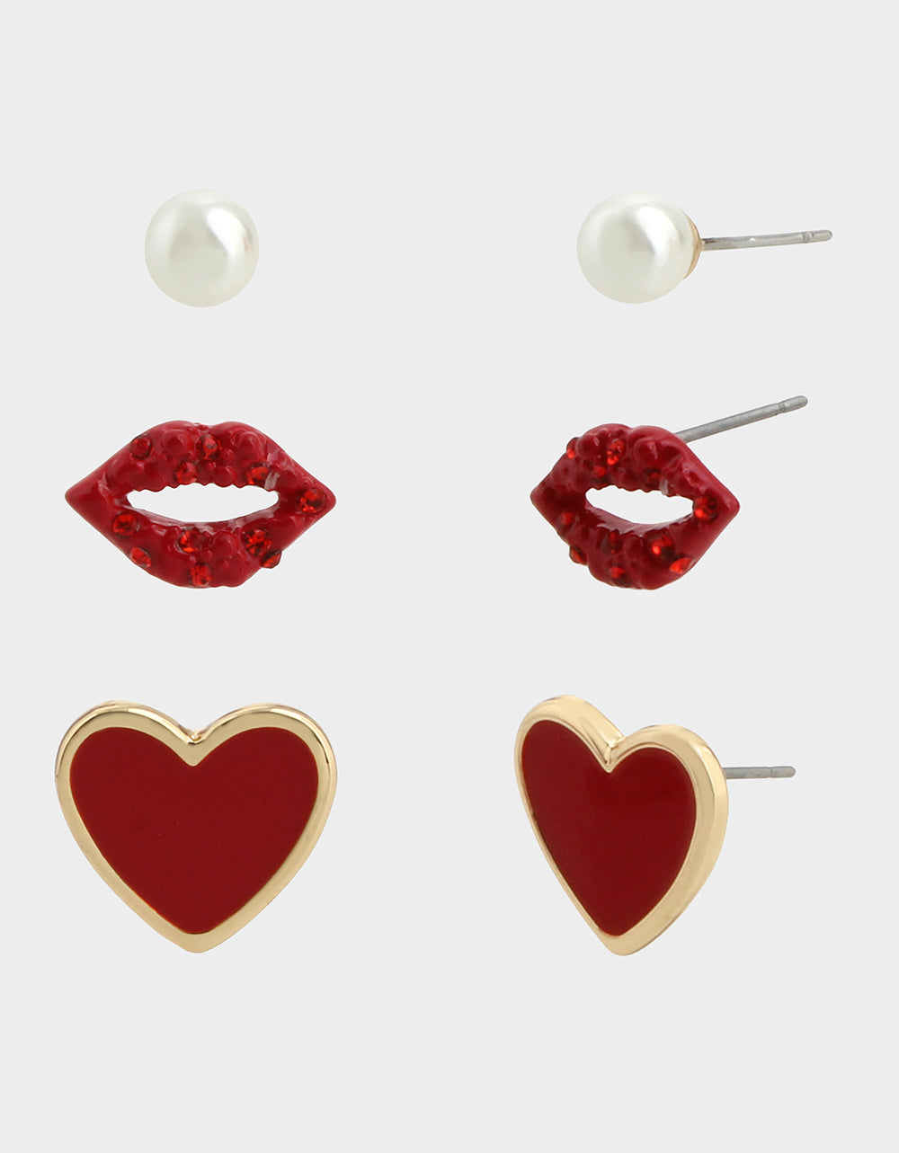 RED HOT LIP HEART STUD SET RED - JEWELRY - Betsey Johnson
