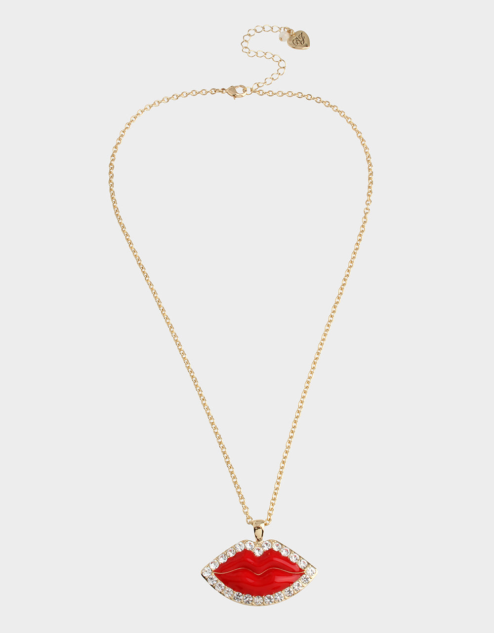 RED HOT PAVE LIPS PENDANT RED - JEWELRY - Betsey Johnson