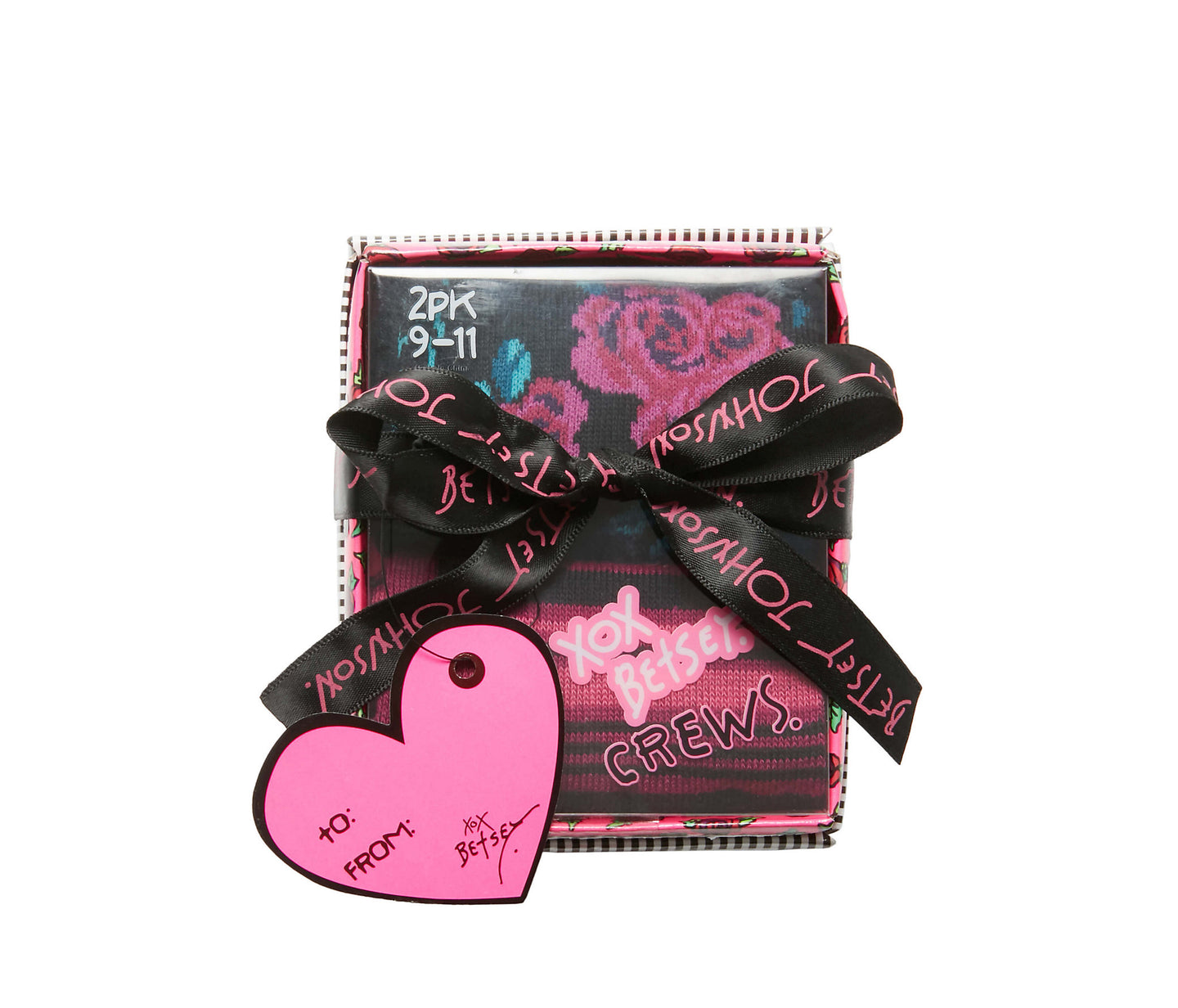 RED ROSES CREW 2 PACK GIFT BOX MULTI - ACCESSORIES - Betsey Johnson