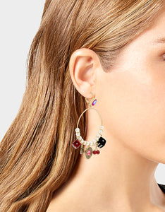 RETRO GLAM CHARM HOOP EARRINGS MULTI