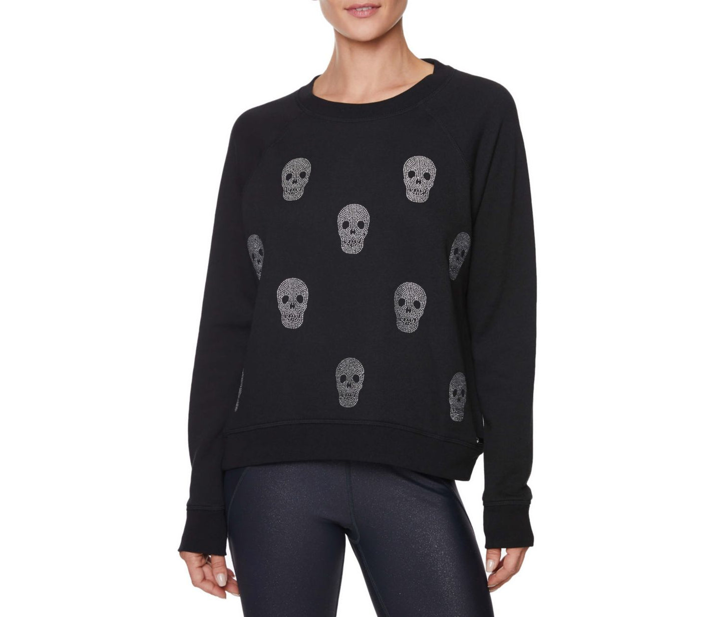 RHINESTONE SKULL PULLOVER BLACK - APPAREL - Betsey Johnson