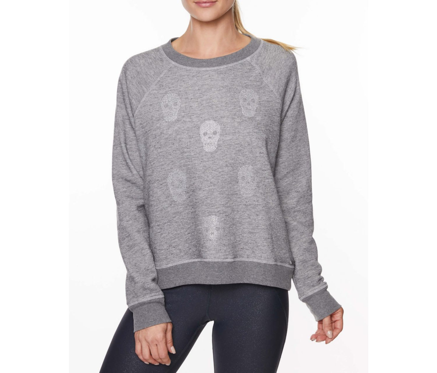 RHINESTONE SKULL PULLOVER CHARCOAL - APPAREL - Betsey Johnson