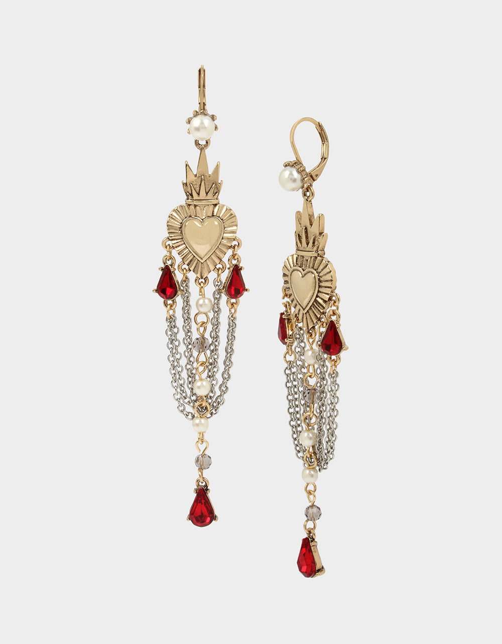ROCKIN RICHES CHANDELIER EARRINGS RED - JEWELRY - Betsey Johnson