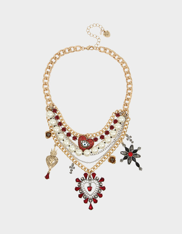 ROCKIN RICHES CHARM STATEMENT NECKLACE RED - JEWELRY - Betsey Johnson