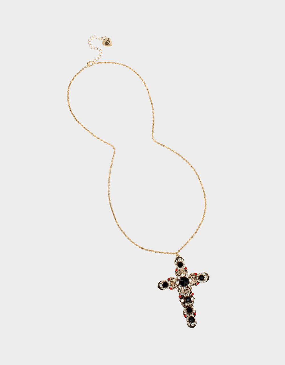 ROCKIN RICHES CROSS LONG PENDANT BLACK - JEWELRY - Betsey Johnson